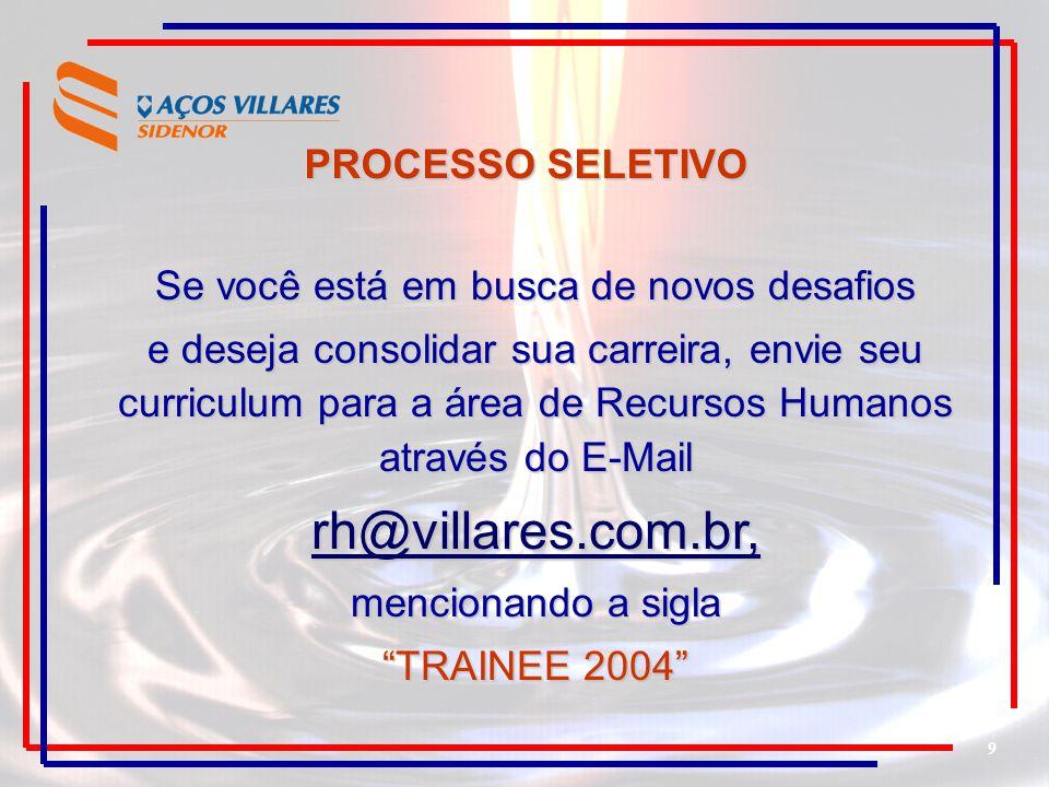 9 Se você está em busca de novos desafios e deseja consolidar sua carreira, envie seu curriculum para a área de Recursos Humanos através do E-Mail rh@