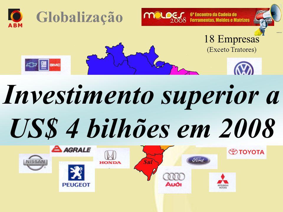 Norte Centro Oeste Nordeste Sudeste Sul 18 Empresas (Exceto Tratores) Mais de US$ 10 bilhões na última década Globalização