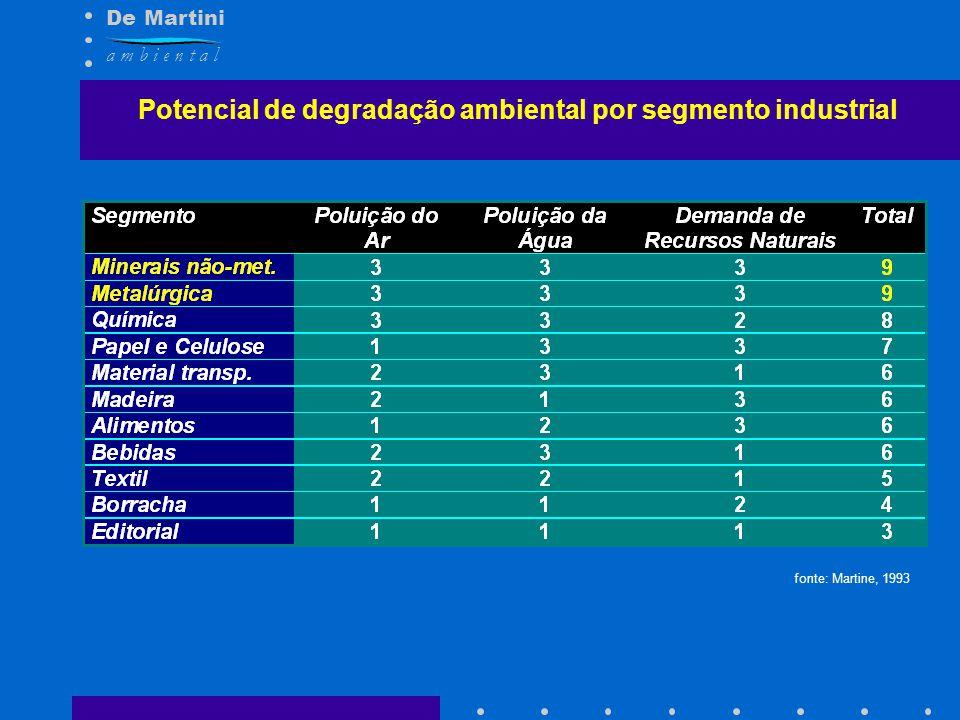 De Martini a m b i e n t a l Potencial de degradação ambiental por segmento industrial fonte: Martine, 1993