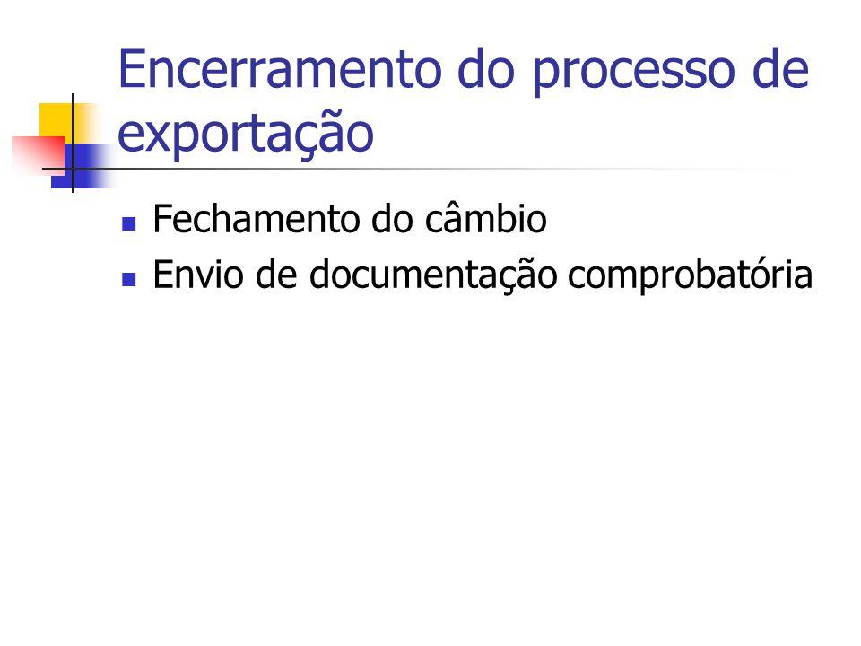 Encerramento do processo de exportação Fechamento do câmbio Envio de documentação comprobatória