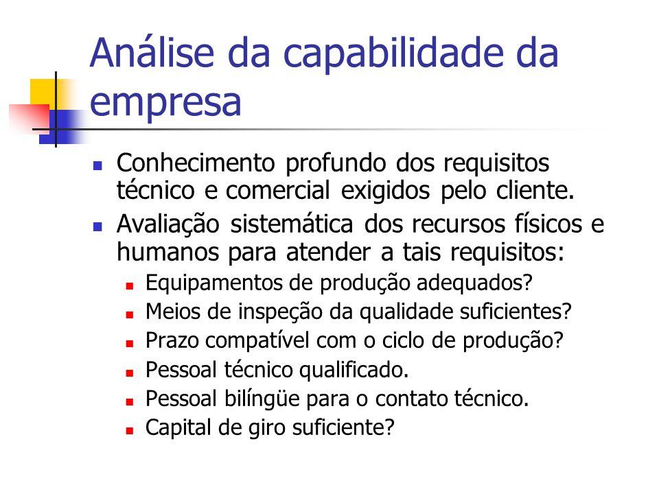 Análise da capabilidade da empresa Conhecimento profundo dos requisitos técnico e comercial exigidos pelo cliente.