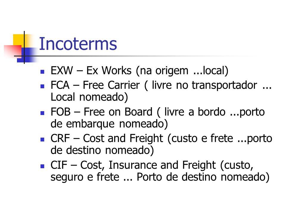 Incoterms EXW – Ex Works (na origem...local) FCA – Free Carrier ( livre no transportador...