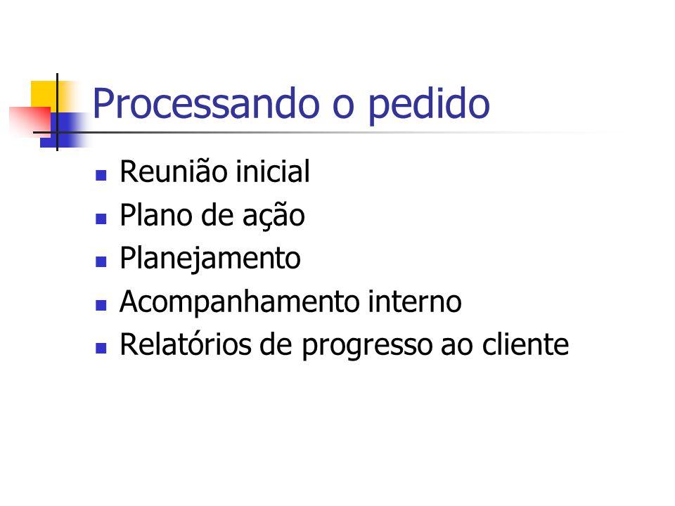 Processando o pedido Reunião inicial Plano de ação Planejamento Acompanhamento interno Relatórios de progresso ao cliente