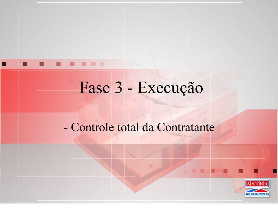 Fase 3 - Execução - Controle total da Contratante
