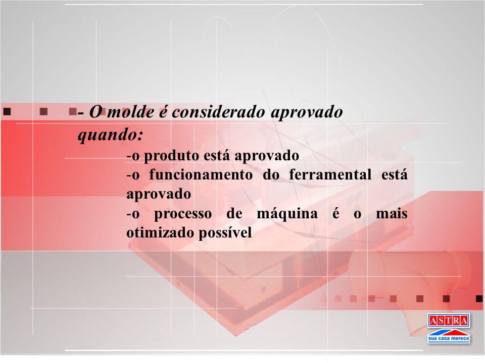 - O molde é considerado aprovado quando: -o produto está aprovado -o funcionamento do ferramental está aprovado -o processo de máquina é o mais otimiz