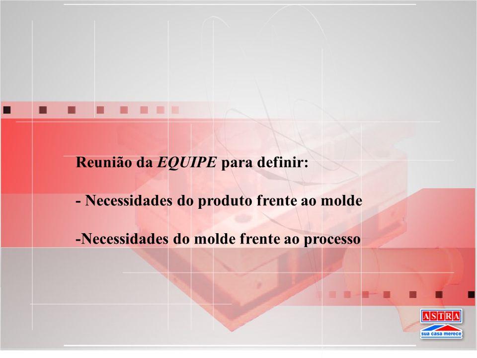 Reunião da EQUIPE para definir: - Necessidades do produto frente ao molde -Necessidades do molde frente ao processo