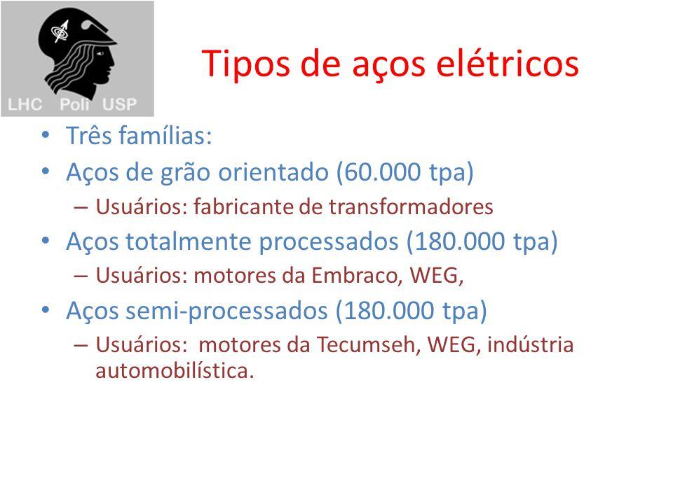 Tipos de aços elétricos Três famílias: Aços de grão orientado (60.000 tpa) – Usuários: fabricante de transformadores Aços totalmente processados (180.000 tpa) – Usuários: motores da Embraco, WEG, Aços semi-processados (180.000 tpa) – Usuários: motores da Tecumseh, WEG, indústria automobilística.