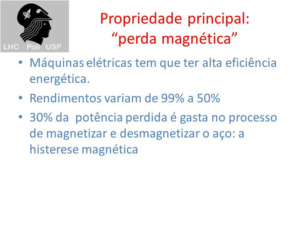 Propriedade principal: perda magnética Máquinas elétricas tem que ter alta eficiência energética.