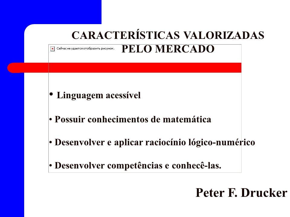 CARACTERÍSTICAS VALORIZADAS PELO MERCADO Linguagem acessível Possuir conhecimentos de matemática Desenvolver e aplicar raciocínio lógico-numérico Desenvolver competências e conhecê-las.