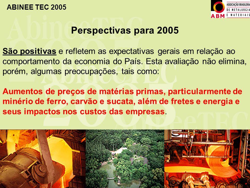 ABINEE TEC 2005 Perspectivas para 2005 São positivas e refletem as expectativas gerais em relação ao comportamento da economia do País. Esta avaliação