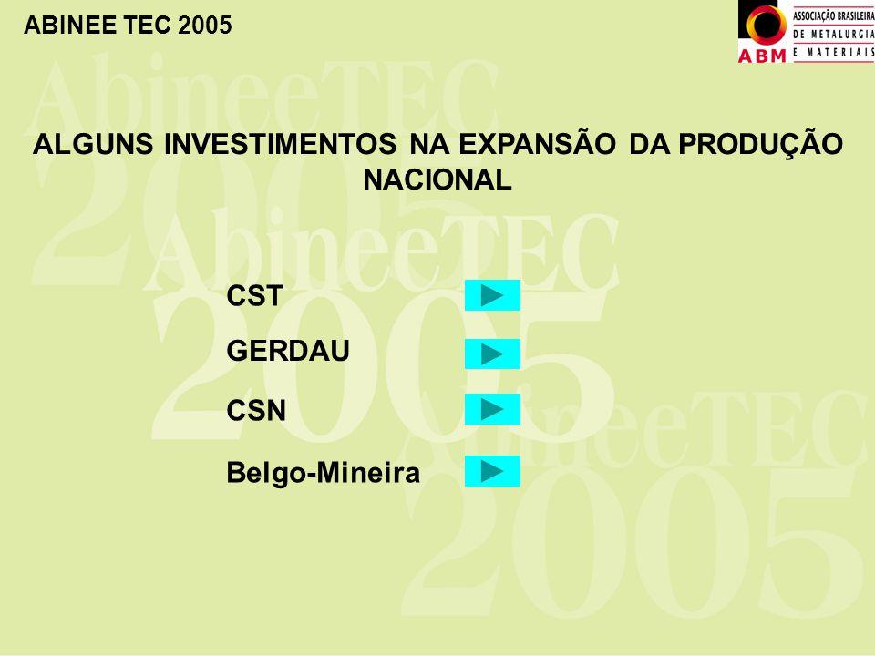 ABINEE TEC 2005 ALGUNS INVESTIMENTOS NA EXPANSÃO DA PRODUÇÃO NACIONAL CST CSN GERDAU Belgo-Mineira