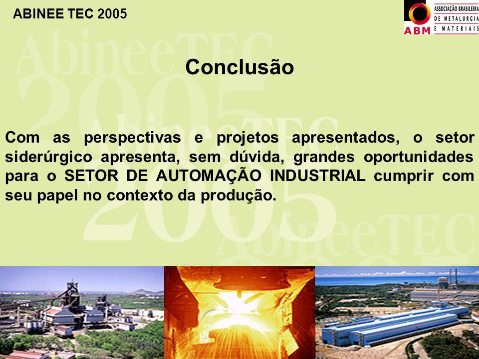 ABINEE TEC 2005 Conclusão Com as perspectivas e projetos apresentados, o setor siderúrgico apresenta, sem dúvida, grandes oportunidades para o SETOR D