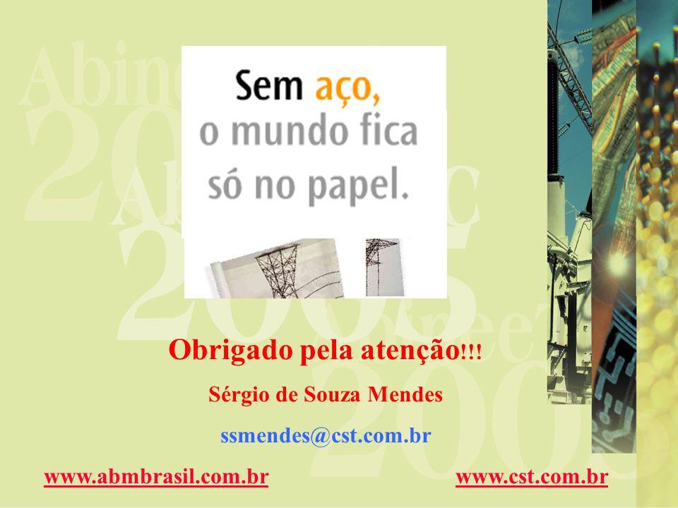 Obrigado pela atenção !!! Sérgio de Souza Mendes ssmendes@cst.com.br www.abmbrasil.com.brwww.abmbrasil.com.br www.cst.com.brwww.cst.com.br