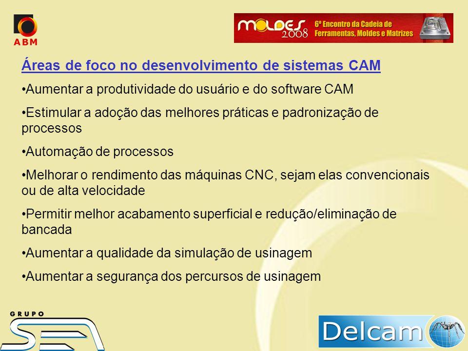 Áreas de foco no desenvolvimento de sistemas CAM Aumentar a produtividade do usuário e do software CAM Estimular a adoção das melhores práticas e padr