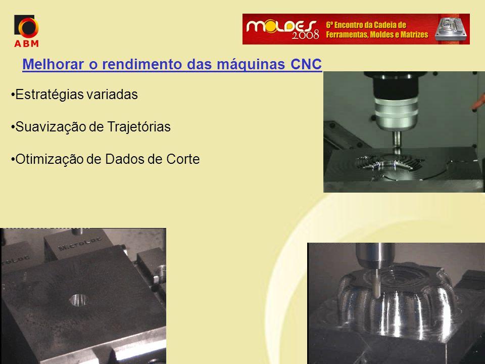 Melhorar o rendimento das máquinas CNC Estratégias variadas Suavização de Trajetórias Otimização de Dados de Corte