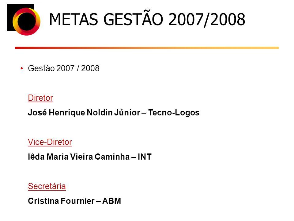Gestão 2007 / 2008 Diretor José Henrique Noldin Júnior – Tecno-Logos Vice-Diretor Iêda Maria Vieira Caminha – INT Secretária Cristina Fournier – ABM METAS GESTÃO 2007/2008