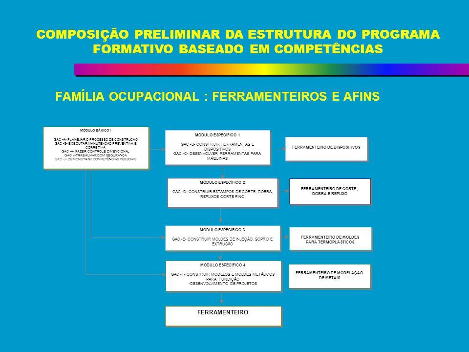 FAMÍLIA OCUPACIONAL : FERRAMENTEIROS E AFINS COMPOSIÇÃO PRELIMINAR DA ESTRUTURA DO PROGRAMA FORMATIVO BASEADO EM COMPETÊNCIAS FERRAMENTEIRO DE CORTE,