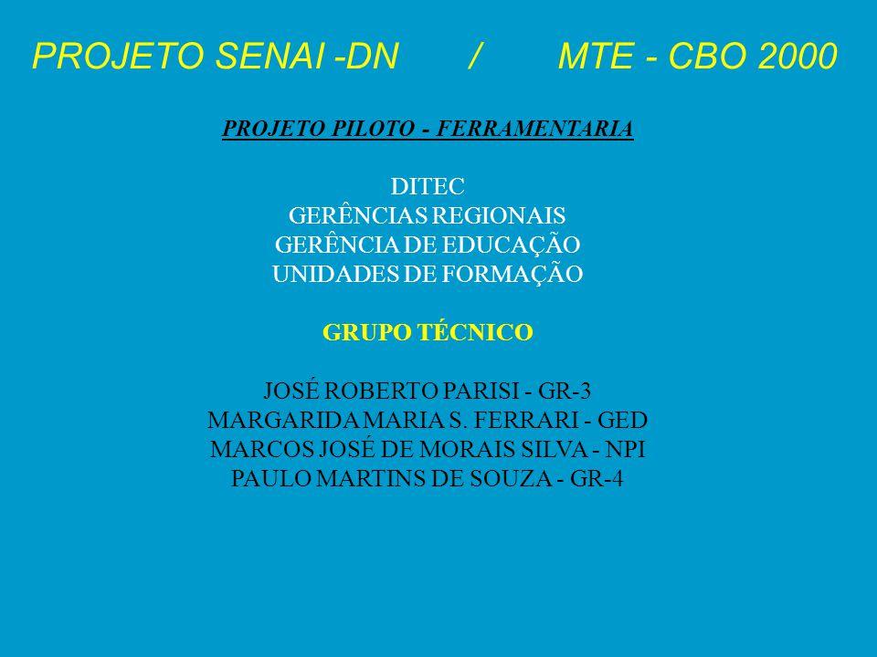 PROJETO SENAI -DN/MTE - CBO 2000 PROJETO PILOTO - FERRAMENTARIA DITEC GERÊNCIAS REGIONAIS GERÊNCIA DE EDUCAÇÃO UNIDADES DE FORMAÇÃO GRUPO TÉCNICO JOSÉ
