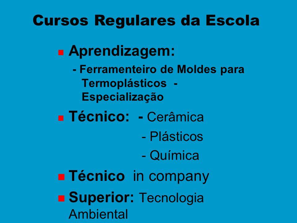 n Aprendizagem: - Ferramenteiro de Moldes para Termoplásticos - Especialização n Técnico: - Cerâmica - Plásticos - Química n Técnico in company n Supe