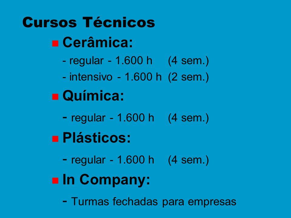 n Cerâmica: - regular - 1.600 h (4 sem.) - intensivo - 1.600 h (2 sem.) n Química: - regular - 1.600 h(4 sem.) n Plásticos: - regular - 1.600 h(4 sem.