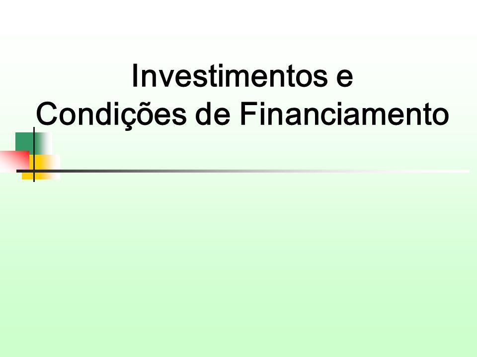Investimentos e Condições de Financiamento