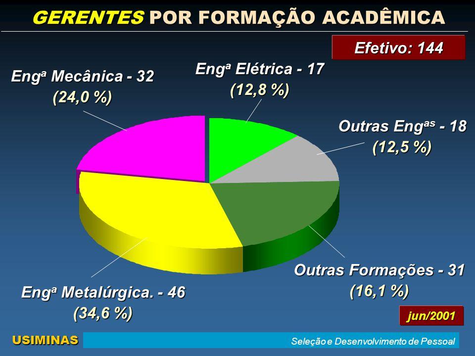 Seleção e Desenvolvimento de Pessoal USIMINAS GERENTES POR FORMAÇÃO ACADÊMICA Eng a Metalúrgica.