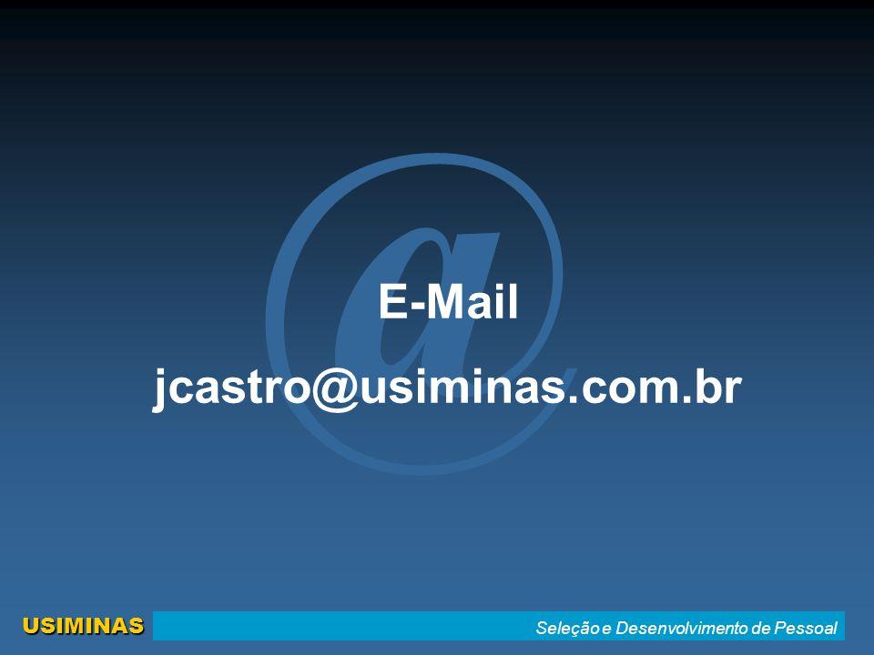 Seleção e Desenvolvimento de Pessoal USIMINAS @ E-Mail jcastro@usiminas.com.br