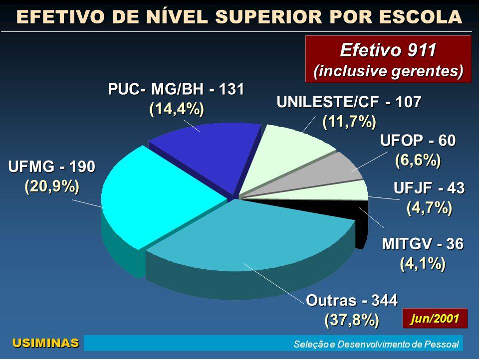 Seleção e Desenvolvimento de Pessoal USIMINAS EFETIVO DE NÍVEL SUPERIOR POR ESCOLA UNILESTE/CF - 107 (11,7%) UFMG - 190 (20,9%) UFOP - 60 (6,6%) PUC- MG/BH - 131 (14,4%) Outras - 344 (37,8%) UFJF - 43 (4,7%) MITGV - 36 (4,1%) jun/2001 Efetivo 911 (inclusive gerentes)