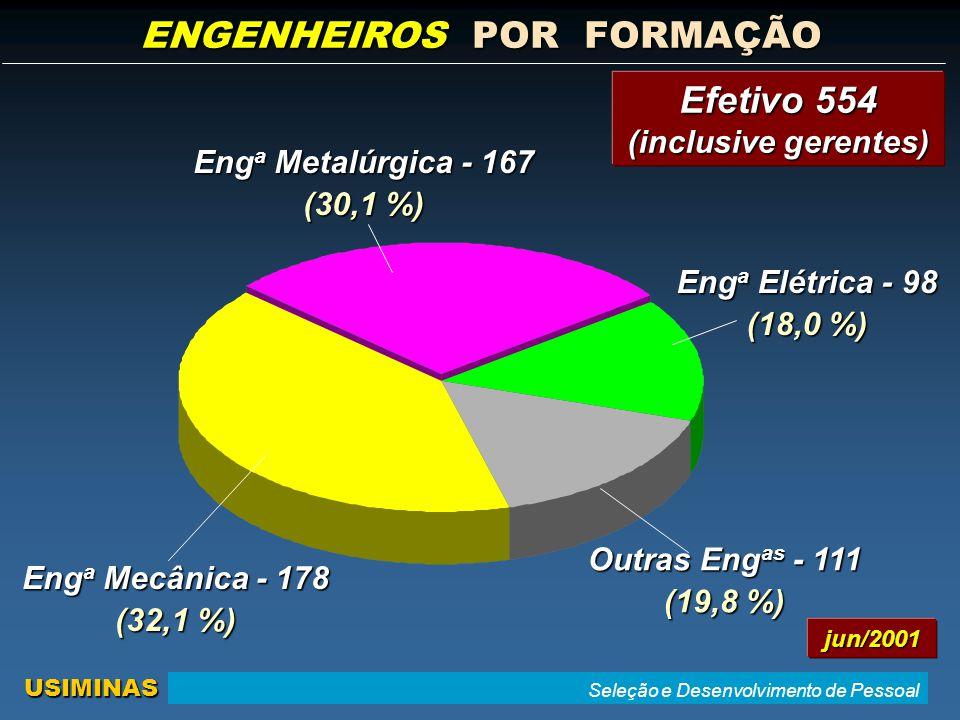 Seleção e Desenvolvimento de Pessoal USIMINAS Eng a Mecânica - 178 (32,1 %) Eng a Metalúrgica - 167 (30,1 %) Eng a Elétrica - 98 (18,0 %) Outras Eng as - 111 (19,8 %) ENGENHEIROS POR FORMAÇÃO jun/2001 Efetivo 554 (inclusive gerentes)