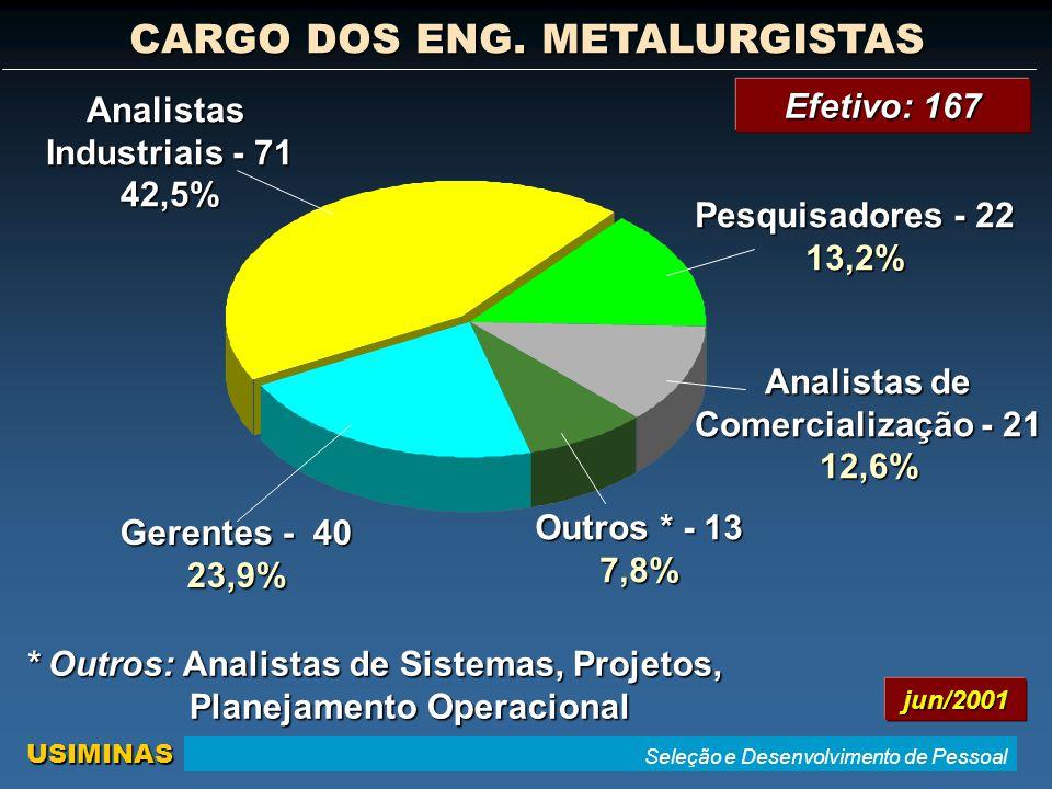 Seleção e Desenvolvimento de Pessoal USIMINAS Efetivo: 167 * Outros: Analistas de Sistemas, Projetos, Planejamento Operacional Analistas Industriais - 71 42,5% Analistas de Comercialização - 21 12,6% Pesquisadores - 22 13,2% Outros * - 13 7,8% Gerentes - 40 23,9% CARGO DOS ENG.