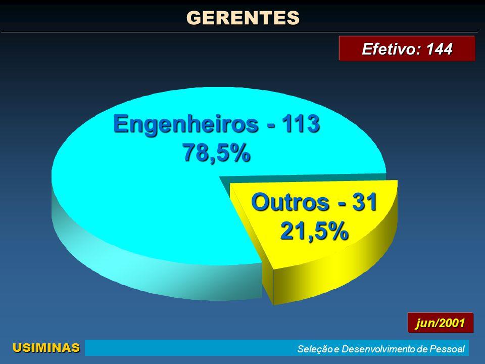 Seleção e Desenvolvimento de Pessoal USIMINAS Outros - 31 21,5% Engenheiros - 113 78,5% GERENTES jun/2001 Efetivo: 144