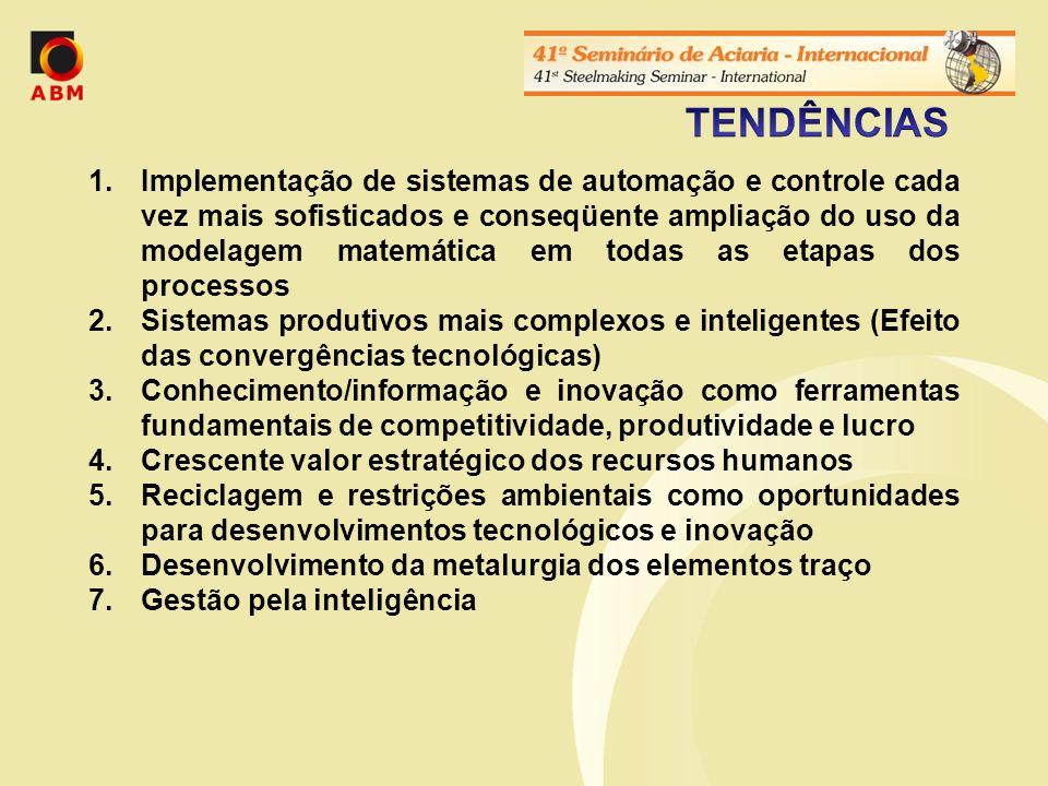 1.Implementação de sistemas de automação e controle cada vez mais sofisticados e conseqüente ampliação do uso da modelagem matemática em todas as etapas dos processos 2.Sistemas produtivos mais complexos e inteligentes (Efeito das convergências tecnológicas) 3.Conhecimento/informação e inovação como ferramentas fundamentais de competitividade, produtividade e lucro 4.Crescente valor estratégico dos recursos humanos 5.Reciclagem e restrições ambientais como oportunidades para desenvolvimentos tecnológicos e inovação 6.Desenvolvimento da metalurgia dos elementos traço 7.Gestão pela inteligência