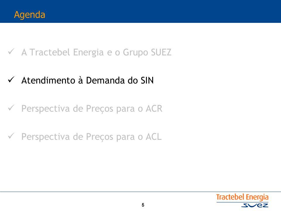 5 Agenda A Tractebel Energia e o Grupo SUEZ Atendimento à Demanda do SIN Perspectiva de Preços para o ACR Perspectiva de Preços para o ACL