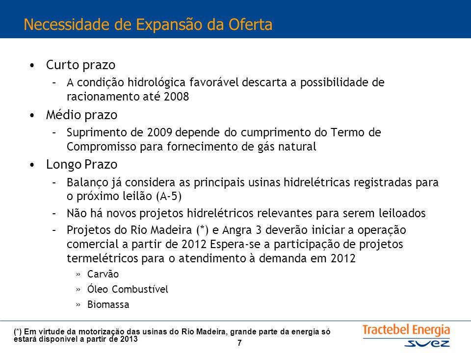 7 Necessidade de Expansão da Oferta Curto prazo –A condição hidrológica favorável descarta a possibilidade de racionamento até 2008 Médio prazo –Suprimento de 2009 depende do cumprimento do Termo de Compromisso para fornecimento de gás natural Longo Prazo –Balanço já considera as principais usinas hidrelétricas registradas para o próximo leilão (A-5) –Não há novos projetos hidrelétricos relevantes para serem leiloados –Projetos do Rio Madeira (*) e Angra 3 deverão iniciar a operação comercial a partir de 2012 Espera-se a participação de projetos termelétricos para o atendimento à demanda em 2012 »Carvão »Óleo Combustível »Biomassa (*) Em virtude da motorização das usinas do Rio Madeira, grande parte da energia só estará disponível a partir de 2013