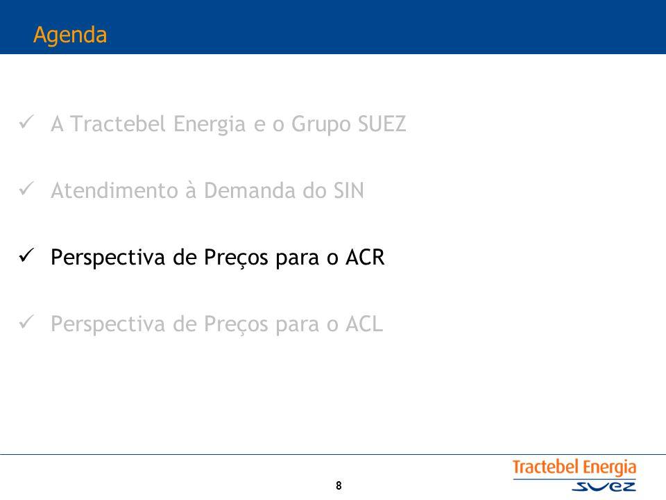 8 Agenda A Tractebel Energia e o Grupo SUEZ Atendimento à Demanda do SIN Perspectiva de Preços para o ACR Perspectiva de Preços para o ACL