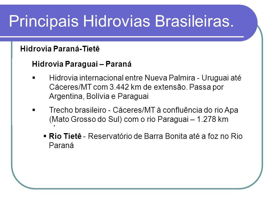 Hidrovia Paraná-Tietê Trechos navegáveis: 1.020 km Rio Paraná - UHE da Itaipu e entrada do Canal de Navegação, em Guaíra/PR; Canal de Navegação sob a
