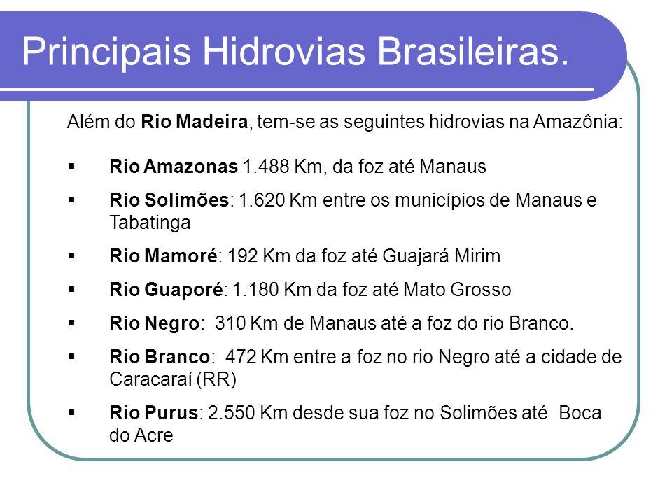 Além do Rio Madeira, tem-se as seguintes hidrovias na Amazônia: Rio Amazonas 1.488 Km, da foz até Manaus Rio Solimões: 1.620 Km entre os municípios de