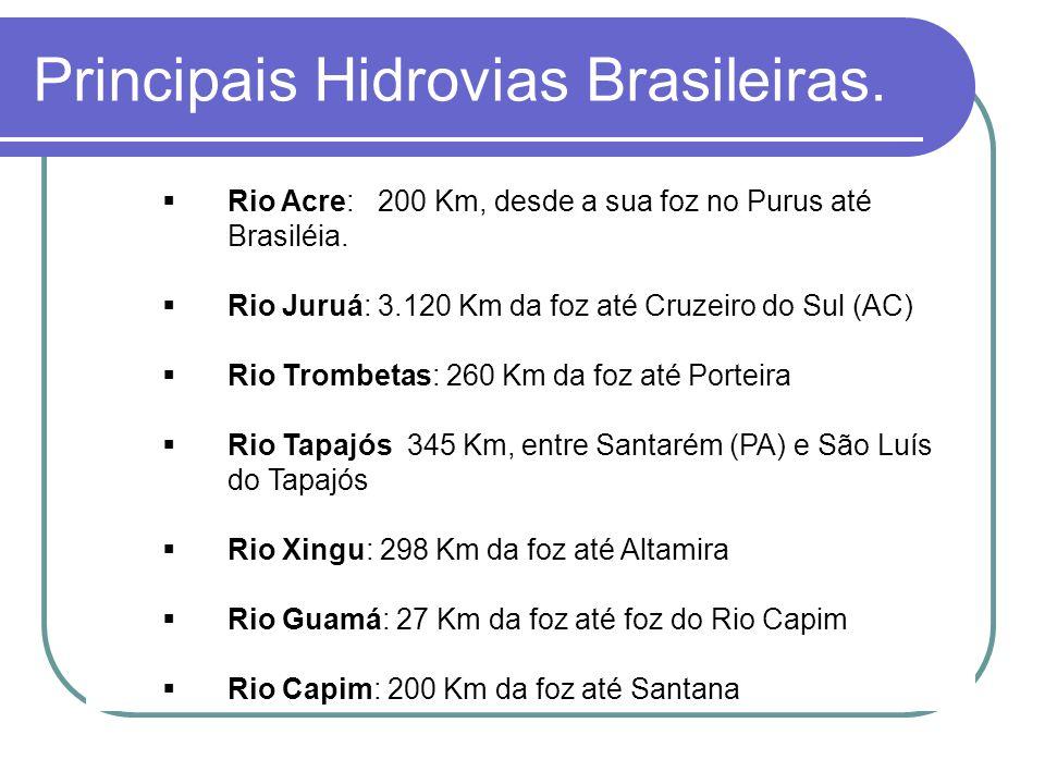 Rio Acre: 200 Km, desde a sua foz no Purus até Brasiléia. Rio Juruá: 3.120 Km da foz até Cruzeiro do Sul (AC) Rio Trombetas: 260 Km da foz até Porteir