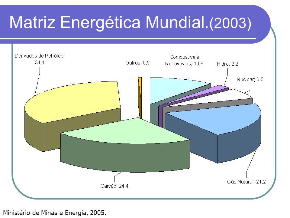 Matriz Energética Mundial. (2003) Ministério de Minas e Energia, 2005.