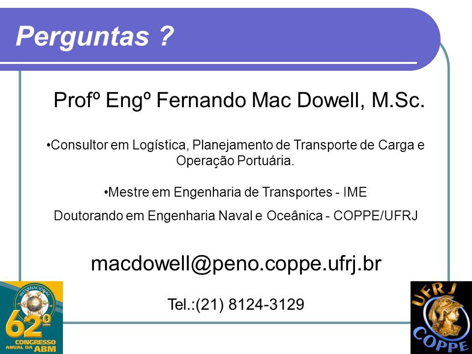 Perguntas ? Profº Engº Fernando Mac Dowell, M.Sc. Consultor em Logística, Planejamento de Transporte de Carga e Operação Portuária. Mestre em Engenhar