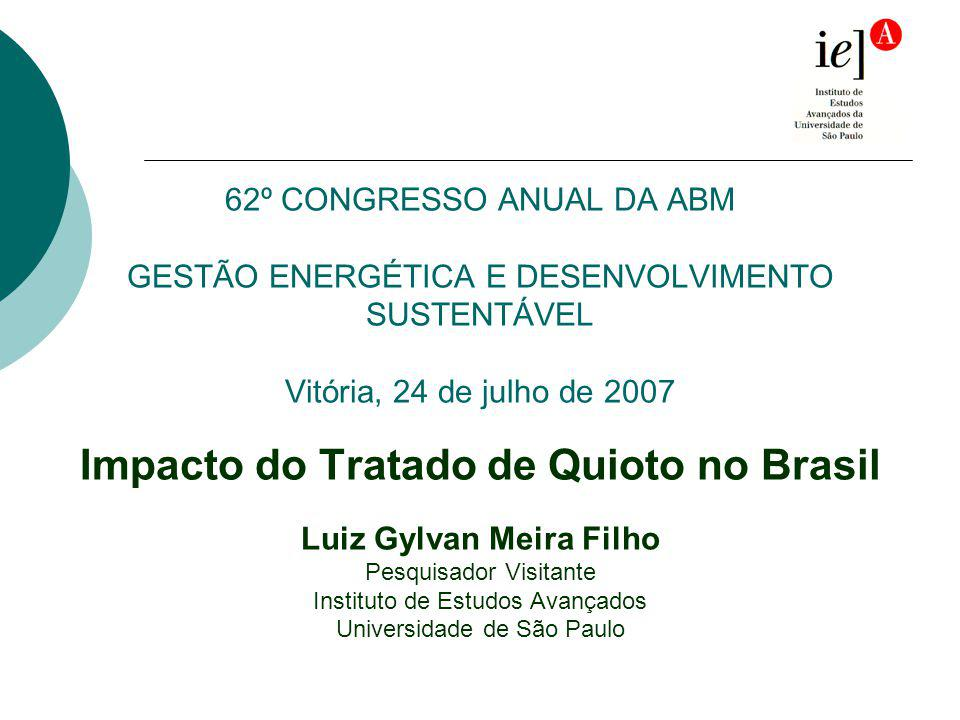 62º CONGRESSO ANUAL DA ABM GESTÃO ENERGÉTICA E DESENVOLVIMENTO SUSTENTÁVEL Vitória, 24 de julho de 2007 Impacto do Tratado de Quioto no Brasil Luiz Gy