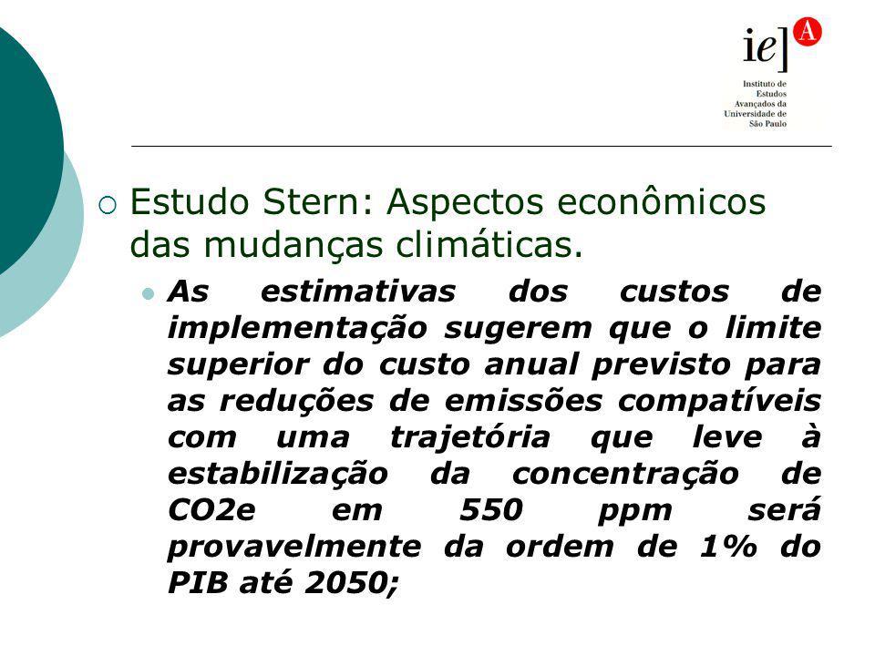 Estudo Stern: Aspectos econômicos das mudanças climáticas. As estimativas dos custos de implementação sugerem que o limite superior do custo anual pre