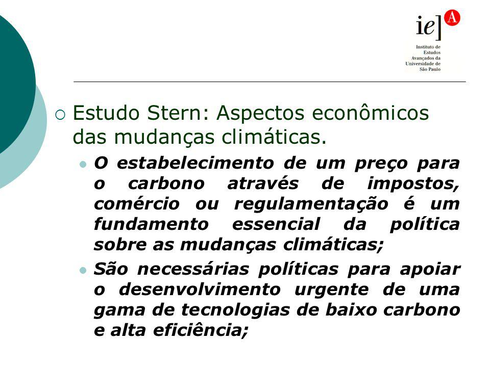 Estudo Stern: Aspectos econômicos das mudanças climáticas. O estabelecimento de um preço para o carbono através de impostos, comércio ou regulamentaçã