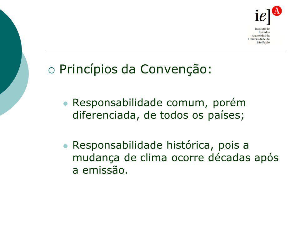 Princípios da Convenção: Responsabilidade comum, porém diferenciada, de todos os países; Responsabilidade histórica, pois a mudança de clima ocorre décadas após a emissão.