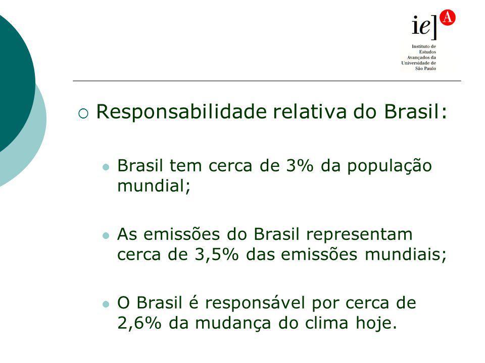 Responsabilidade relativa do Brasil: Brasil tem cerca de 3% da população mundial; As emissões do Brasil representam cerca de 3,5% das emissões mundiais; O Brasil é responsável por cerca de 2,6% da mudança do clima hoje.