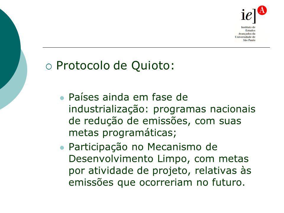 Protocolo de Quioto: Países ainda em fase de industrialização: programas nacionais de redução de emissões, com suas metas programáticas; Participação no Mecanismo de Desenvolvimento Limpo, com metas por atividade de projeto, relativas às emissões que ocorreriam no futuro.