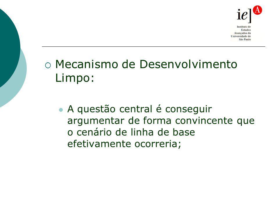 Mecanismo de Desenvolvimento Limpo: A questão central é conseguir argumentar de forma convincente que o cenário de linha de base efetivamente ocorreria;