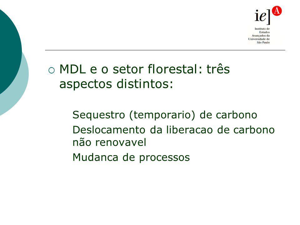 MDL e o setor florestal: três aspectos distintos: Sequestro (temporario) de carbono Deslocamento da liberacao de carbono não renovavel Mudanca de processos