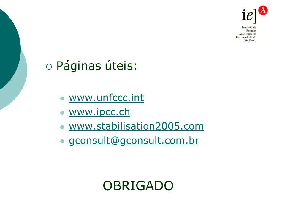 Páginas úteis: www.unfccc.int www.ipcc.ch www.stabilisation2005.com gconsult@gconsult.com.br OBRIGADO
