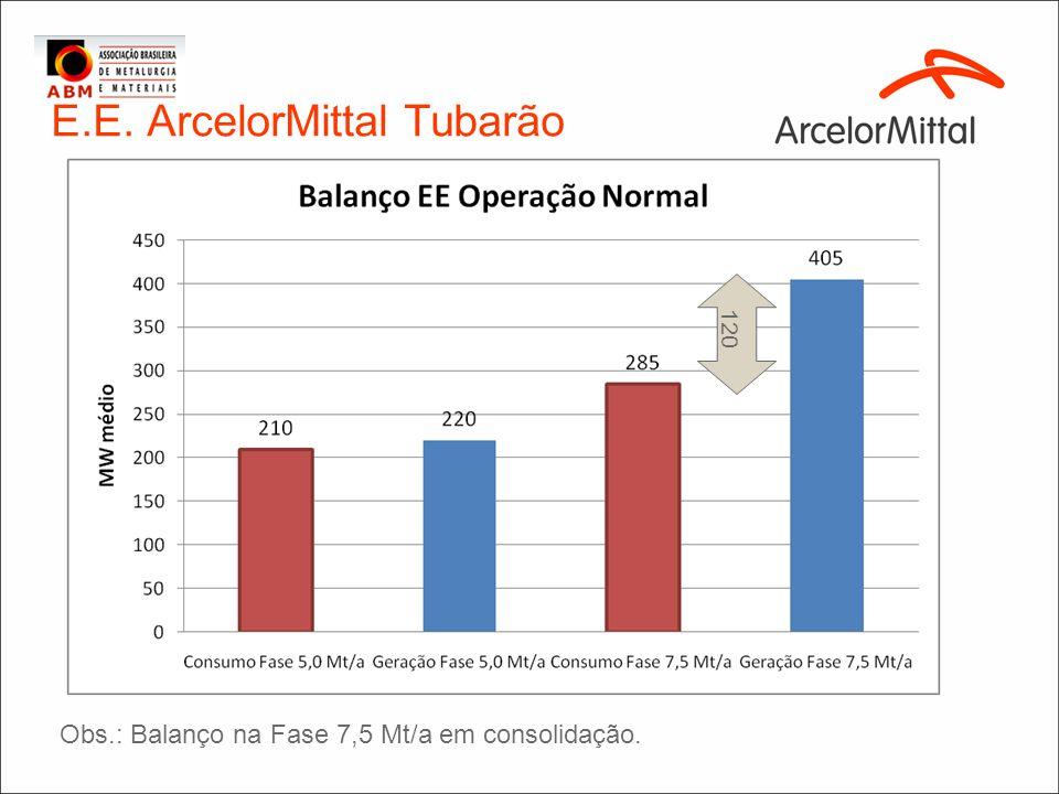 E.E. ArcelorMittal Tubarão 120 Obs.: Balanço na Fase 7,5 Mt/a em consolidação.